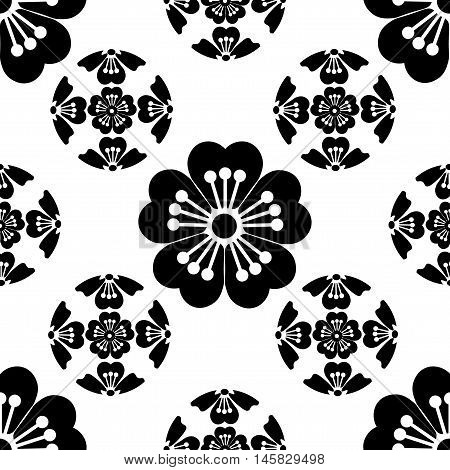 Sakura seamless stylized flower, symbolizes the arrival of spring, the Japanese symbols, black on white background, isolated, vector illustration