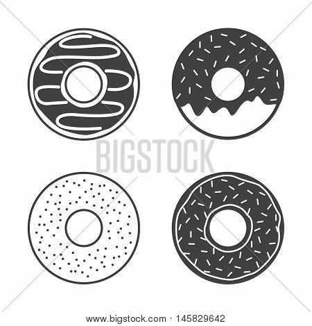 Vector donuts icons set isolated on white background. Yummy cookie donut icon food. Candy decoration donut with topping. Glazed pastry delicious snack, eat candy.