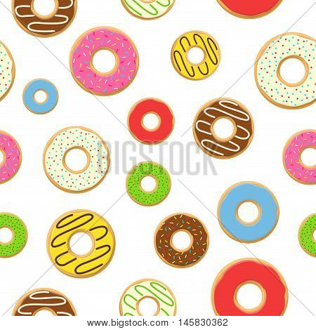 Vector seamless pattern with colorful donuts with glaze and sprinkles on white background. Candy decoration color donuts collection. Glazed pastry delicious snack, eat candy.
