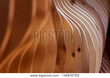 Abstract surface of board background. Curved wooden structure.