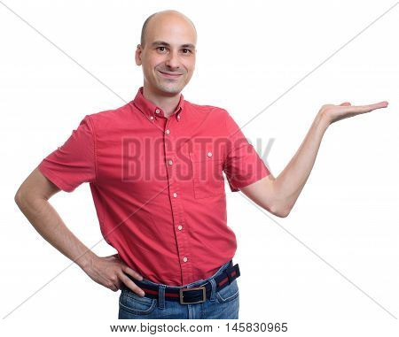Smiling Bald Man Presenting With His Palm Up