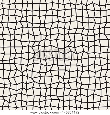 Vector Seamless Black and White Distorted Rectangle Mosaic Grid Pattern. Abstract Geometric Background Design
