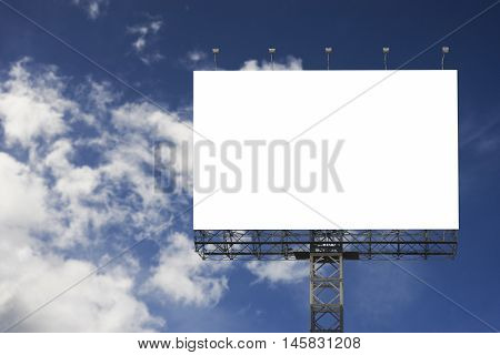 Blank Big Billboard Against Blurred Blue Sky Background,for Your Advertising,put Your Own Text Here,
