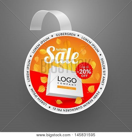 Round wobbler design template. Autumn sale event. Vector illustration yellow leaves and paper bag.