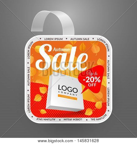 Square wobbler design template. Autumn sale event. Vector illustration yellow leaves and paper bag.