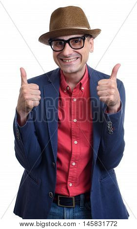 Fashionable Mid Age Man Showing His Thumbs Up