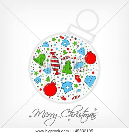Christmas icon set inside of bobble. Xmas and winter holidays elements. Flat design vector greeting card
