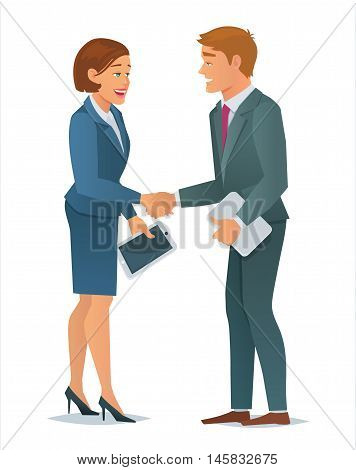 Concept of business people, business man and business woman handshake making a deal, teamwork solution , business partners, successful partnership. Vector Illustration in cartoon flat style.