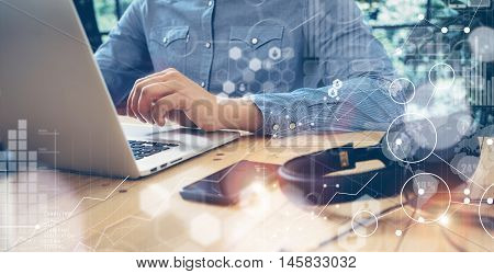 Businessmen Working Modern Desktop Laptop Wood Table.Global Connection Virtual Icon Graph Interface Screen Online.Sucess Manager Researching Process.Business Startup Croworking People Sharing Office