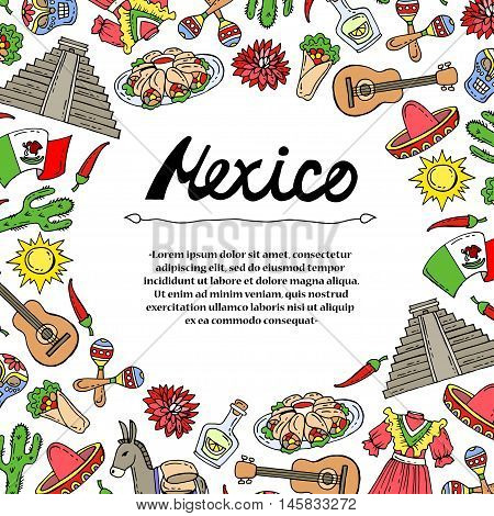 Cute decorative cover with hand drawn colored symbols of Mexico on white color. Illustration on the theme of travel and tourism. Vector background for use in design