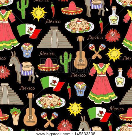 Vector seamless pattern on the theme of Mexico travel tourism. Pattern with colored symbols of Mexico on black color. Background for use in design, web site, packing, textile, fabric