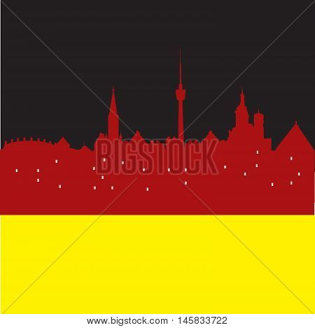 Abstract Stuttgart skyline, with various landmarks, vector illustration