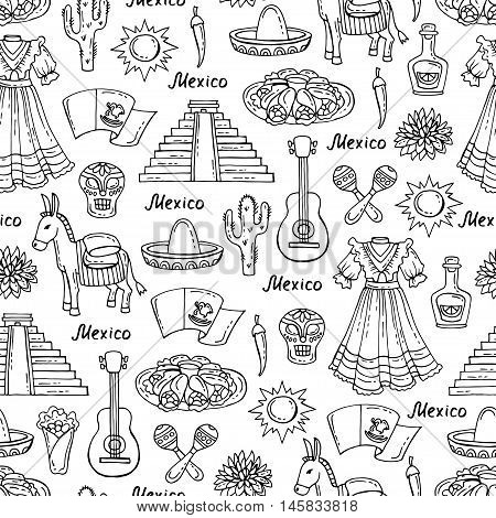 Vector seamless pattern on the theme of Mexico travel tourism. Pattern with isolated symbols of Mexico on white color.