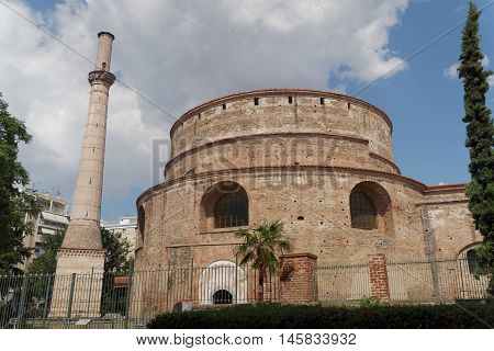 Thessaloniki, Greece. The Rotunda of Emperor Galerius. Known as the Greek Orthodox Church of Agios Georgios, it can be found close to The Arch of Roman Emeperor Galerius.