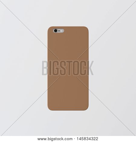 Closeup One Blank Brown Clean Template Cover Phone Case Smartphone Mockup.Generic Design Mobile Back Isolated White Empty Background.Ready Corporate Logo Label Message.3d rendering