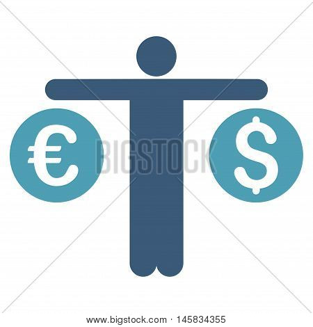 Person Compares Currency icon. Vector style is bicolor flat iconic symbol, cyan and blue colors, white background.