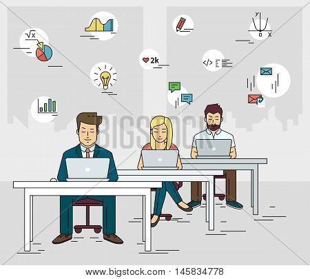 Busy students working at the desk and learning with laptop. Flat outlined illustration of people learn and get knowledge with social media symbols such as idea, diagram, email, exam, and coding