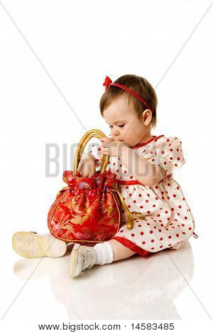 Girl Holding Purse