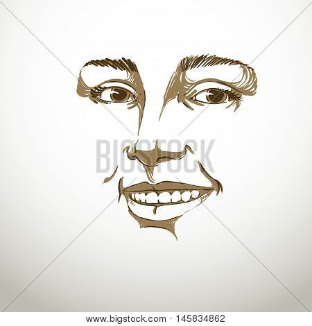 Monochrome hand-drawn mask with face features and emotional expressions. Beautiful smiling glad lady portrait of flirting young woman.