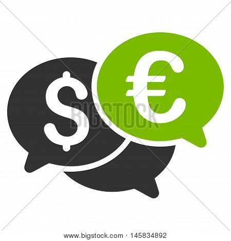 Currency Bids icon. Vector style is bicolor flat iconic symbol, eco green and gray colors, white background.