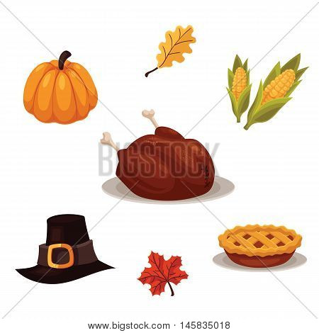 Set of traditional thanksgiving symbols - turkey, pumpkin, pilgrim hat, pie and corn, cartoon style vector illustration isolated on white background. Collection of thanksgiving icons