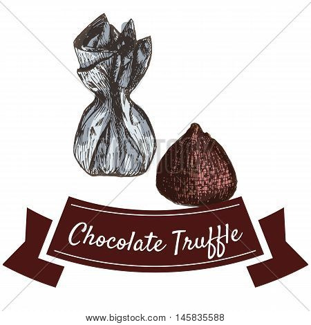 Vector illustration colorful set with chocolate truffle. Illustration various of chocolate candy products on white background