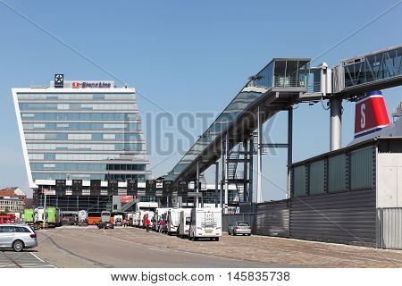 Kiel, Germany - June 4, 2016: Stena line terminal on the harbor of Kiel. Stena Line is one of the largest ferry operators in the world and the largest privately owned shipping company in the world