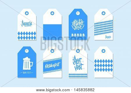 Collection of Oktoberfest gift tags. Set of hand drawn German Beer Fest labels in national bavarian colors. Holiday badge design. Vector illustration.