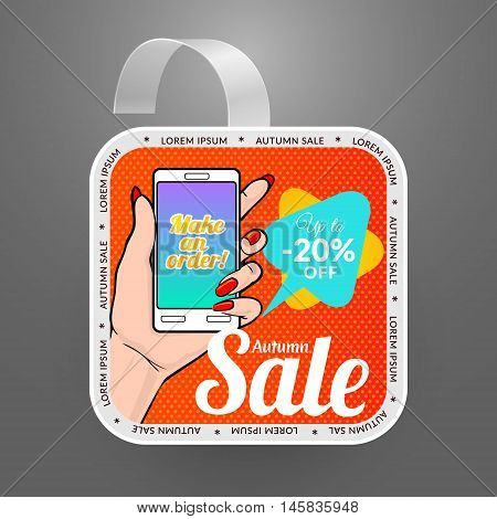 Square wobbler design template. Autumn sale event. Vector illustration with smartphone in pop art style.