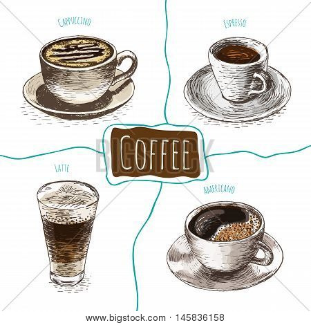 Vector illustration colorful set with coffee. Different kinds of coffee on white background