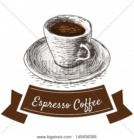 Vector illustration colorful set with espresso coffee. Illustration of coffee on white background