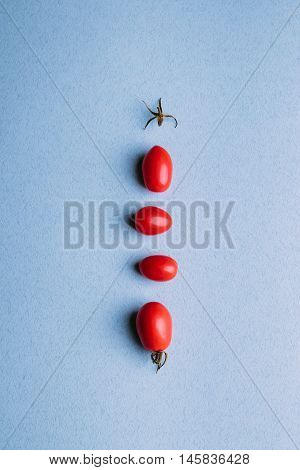 Red Cherry Tomatoes On A Blue Background