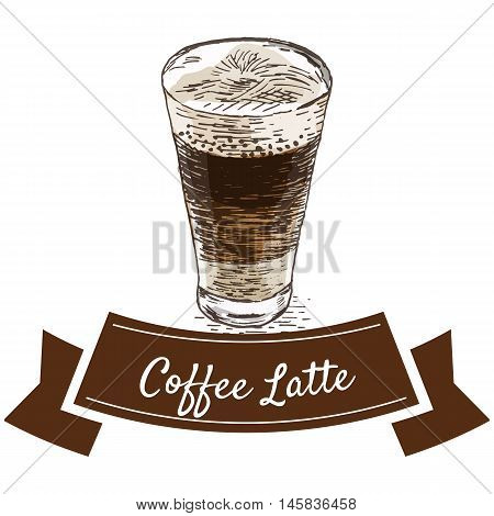 Vector illustration colorful set with coffee latte. Illustration of coffee on white background
