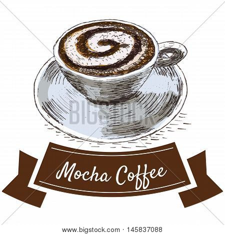 Vector illustration colorful set with mocha coffee. Illustration types of coffee on white background