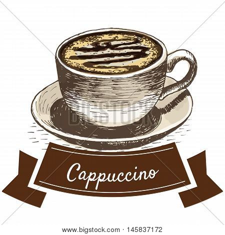 Vector illustration colorful set with cappuccino coffee. Illustration of coffee on white background