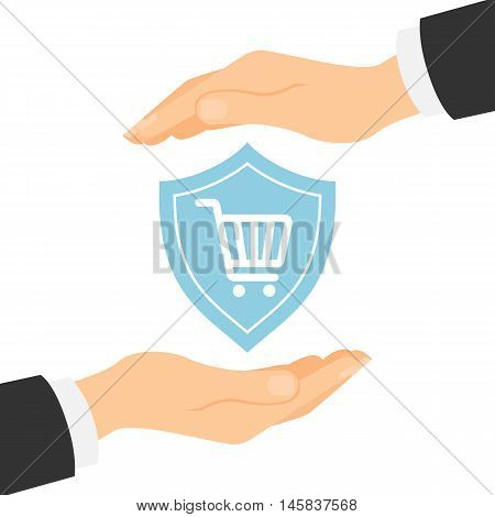 Online shopping protection. Safety from hacking, crime and fraud. Hands palm protect shopping cart.