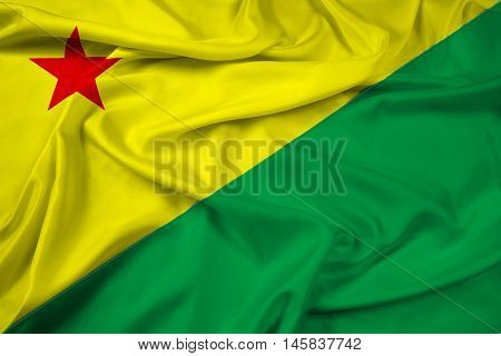 Waving Flag of Acre State Brazil, with beautiful satin background.