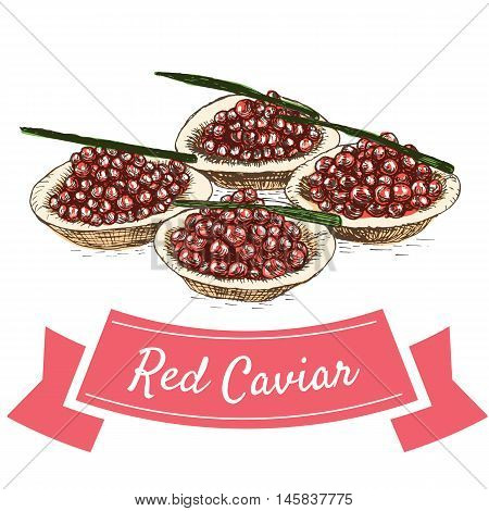 Vector illustration colorful set with red caviar. Illustration of red caviar on white background