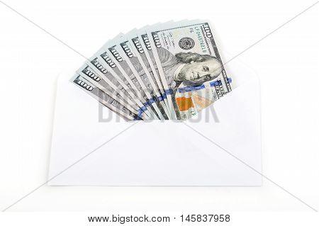 American dollars in a white envelope - 100 dollars