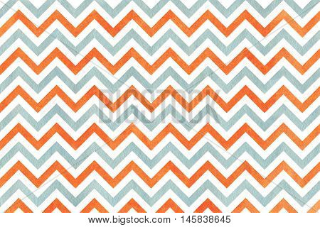 Watercolor Orange And Blue Stripes Background, Chevron.
