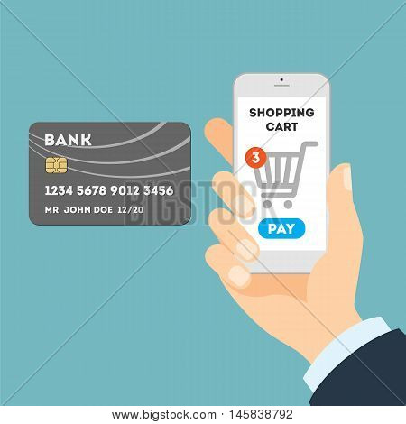 Online shopping with credit card. Easy payment for order with plastic card through internet.
