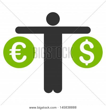 Person Compares Currency icon. Vector style is bicolor flat iconic symbol, eco green and gray colors, white background.