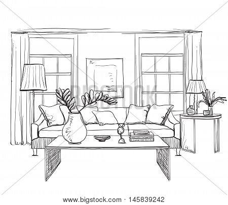 Hand drawn room interior sketch. Chair, table flowerpot