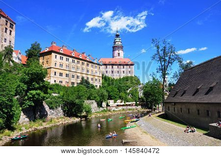 Cesky Krumlov, Czech republic - July 9, 2015: Cesky Krumlov - UNESCO city in south bohemia