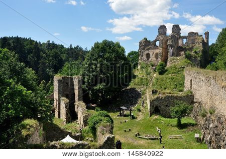 Dívčí kámen, Czech republic - July 26, 2015: View of Dívcí kámen - Girls rock ruin, ruin of castle in south bohemia