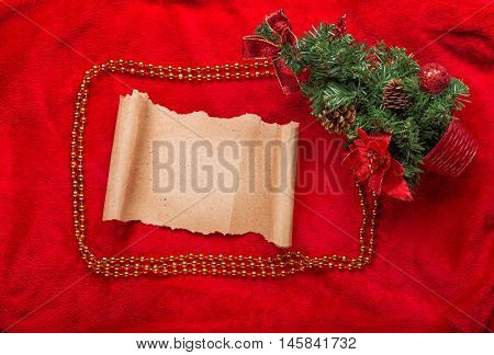 Christmas vintage scroll on red background