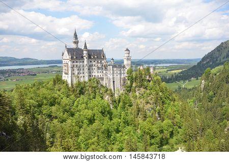 Neuschwanstein Castle above the village of Hohenschwangau near Füssen, in Germany