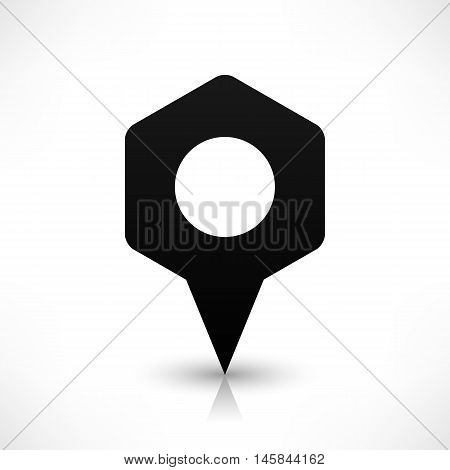 Black empty rounded hexagon map pins sign blank location icon with circular blank copy space and gray shadow reflection on white background in flat style. Vector illustration web design element 8 eps
