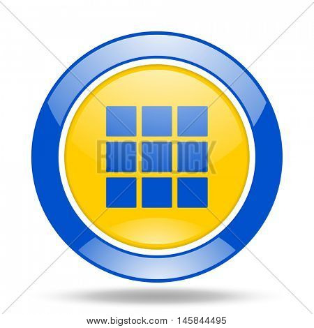 thumbnails grid round glossy blue and yellow web icon