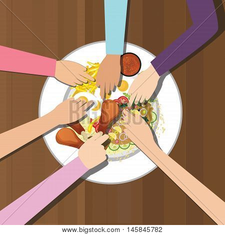 eat together many hands one plate food view from top vector